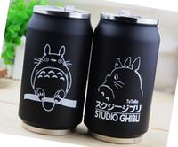 термос солома оптовых-Wholesale- Creative Cartoon Totoro Straw Vacuum Cup Stainless Steel Thermos Mug Thermal Bottle Thermocup 300ml 1pc