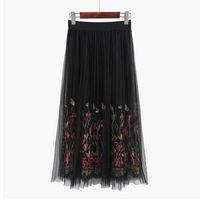 Wholesale Embroidered Overlay - 2017 Bohemian Skirt Women Vintage Long Skirt Ladies Elegant Black Floral Embroidered Mesh Overlay High Waist A Line Midi Skirt