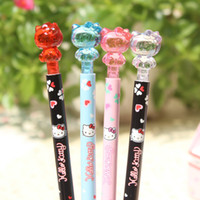 Wholesale Cute Stationery Mechanical Pencils - Wholesale- 2X Cute Crystal Hello Kitty Press Mechanical Pencil School Office Supply Student Stationery Kid Gift Automatic Pencil 0.5mm