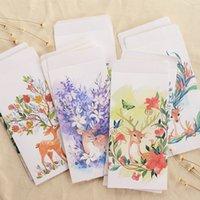 Wholesale Envelope Window - Wholesale- 50 pcs set Cartoon kraft Paper gift Window Envelopes Planting Deers sobres kraft envelopes Size 110*215mm