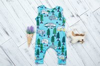 Wholesale 12 Month Onesie - Baby Boys Tree Car Print Jumpsuits 2017 Infant Boutique Clothing Onesie Euro America INS Baby Toddlers Sleeveless Bodysuits