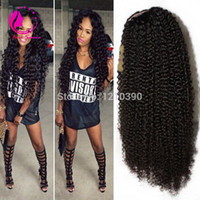 Wholesale Human U Part Wig - Virgin Brazilian Curly U Part Wigs Kinky Curly Virgin U Part Human Hair Wigs Glueless Upart Wig For Black Women With Baby Hair