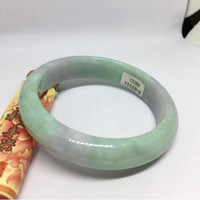 ingrosso giada di ghiaccio verde-New China tradizionale Natural Myanmar Jadeite Bangle Bracciale in giada Ice waxy kind Light Voilet e Green per donna 56384