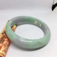 pulseira myanmar venda por atacado-Nova China tradicional Natural Myanmar Jadeite Bangle Jade Pulseira de Gelo tipo de Luz de Luz Voilet e Verde para as mulheres 56384