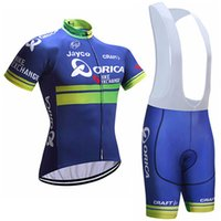 Wholesale Orica Green - 2017 ORICA Cycling Jersey bib shorts set Breathable sport wear cycling clothes Bicycle Clothing Lycra summer MTB Bike maillot C0911