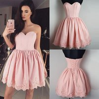 Wholesale Lace Mini Dress China - Pretty Pink Short Homecoming Dresses Lace-up Back Pleats Lace Sweetheart Mini Cocktail Dresses Special Occasion Gowns Free Shipping China