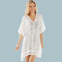 Wholesale Lace Trim White Short Dress - New Arrival White Lace Trim Cover-Ups Short Sleeve V-Neck Loose Beach Dress Ladies Swimwear Cover-Up Kimono ZZNF0706