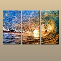 Wholesale Ocean Waves Landscape Paintings - Best Gift 3 Panel Hot Modern Contemporary Canvas Wall Art Print Painting Wave Ocean Seascape HD Picture For Living Room Home Decor abc262