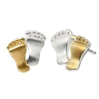 Wholesale Gold Earrings For Babies - 5 pairs lot 925 Sterling Silver Jewelry Unique Baby Girl Foot Earrings for Women Charm Cute Couples Feet Gold Vintage Accessories