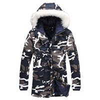 Wholesale Hooded Denim Coat - Men Cotton-Padded Winter Jackets Parkas Men's Casual Fashion Slim Fit Hooded Long Fur Collar Camouflage Warm Jackets&Coats