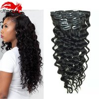Wholesale Remy Clip Ins - Clip In Human Hair Extensions Brazilian Hair African American Clip In Human Remy Hair Extensions Deep Curly Clip ins