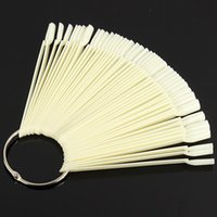 Wholesale Kits Sticks Nail Art - Wholesale- 50pcs Natural False Nail Art Tips Display Sticks Polish Fan Practice Board Kit Clear White For DIY Salon Manicure Tools