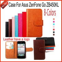 For Asus ZenFone Go ZB450KL PU Black AiLiShi For Asus ZenFone Go ZB450KL Case High Quality PU Flip 8-Colors Wallet Protective Cover Skin New Leather Case In Stock