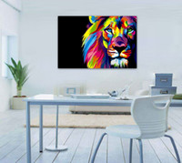 Wholesale Canvas Decors - Unframed Wall Art Oil Painting On Canvas Animal Paintings Colourful Lion Head Picture Decor Living Room Decor