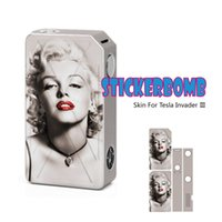 Wholesale Electronic Cigarette Wraps - Wholesale-New Arrival Vinyl Sticker Skin Wrap Cover Protect Case For Tesla Invader 3 III 240W Box Electronic Cigarette Stickers