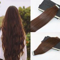 Wholesale Double Drawn Hair Extensions Brown - Tape in Extensions Human Hair #4 Dark Brown 100% Skin Weft Invisible Hair Extensions Double Drawn Seamless Virgin Tape on Extensions