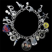 Wholesale Bracelet Scarf - 6pcs Sherlock Television Series Themed angel star umbrella teapot scarf Charm Bracelet silver tone
