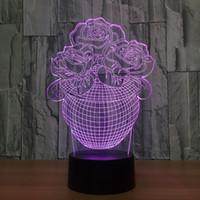 Wholesale Heart Flower Vase - 2017 Flower Vase 3D Illusion LED Lamp Night Light 7 RGB Lights DC 5V USB Powered AA Battery Dropshipping Retail Box