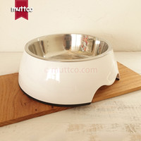 Wholesale Puppy Nursing Bottle - high quality detachable antiskid Stainless steel pure white color puppies dog bowl DB-010