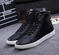 Wholesale Mens High Black Boots Fashion - New Men High Top Casual Shoes Genuine Leather Lace Up White Black Color Mens Fashion Boots Men's High Top Ankle Boots