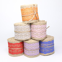 Wholesale Red Burlap Ribbon - Width 60mm Craft Handmade Jute Burlap Natural Linen Ribbon Lace Edge for DIYHeadwear Wedding Party Festive Event Decoration Gift Wrap zd181