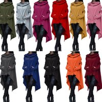 Wholesale Sleeves Irregular Blouse - Jumper Irregular Sweatshirts Long Sleeve Jackets Women Solid Casual Coat Autumn Blouses Sweatshirts Pullover Outwear Women Clothes KKA2725