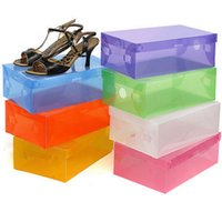 Wholesale Transparent Folding Plastic Boxes - Shoes Storage Boxes DIY Folding Shoebox Plastic storage boxes wholesale Transparent Toughness Shoe Box Container free shipping