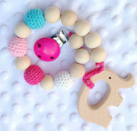 Wholesale Crochet Teething - Baby Wooden Teethers Pacifier Clip Dummy Holder Chain Teething Natural wooden beads Crochet covered beads Baby Gift Safe for teething