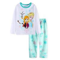 Wholesale Unisex Underwear For Kids - Girl's cartoon princess printing pajamas 2pc set long sleeve T shirt+trousers kids elsa anna cartoon printing underwear homewear for 2-7T