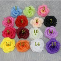 ingrosso teste di fiori di seta rossi testa rossa-8 centimetri di seta artificiale fiore testa di rosa per la decorazione domestica di nozze grossista 15colore può scegliere bianco rosa rossa