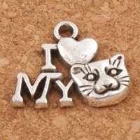 I Love Cat Animal Spacer Charm Beads Pendentifs 200pcs / lot 17.5x14 mm Antique Silver Alloy Bijoux faits à la main DIY L1154