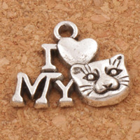 Wholesale Charm Antique Cat Silver - I Love Cat Animal Spacer Charm Beads Pendants 200pcs lot 17.5x14 mm Antique Silver Alloy Handmade Jewelry DIY L1154
