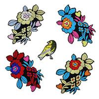 Wholesale Diy Stiker - 5Pcs Set Patch Brand Patches Iron on Birds Motif Flower Patches Stikers Applique Garment embroide Patches Women DIY Clothes Badges Stiker