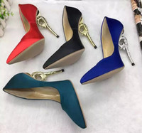 Wholesale Blue Shoes For Bride - Ralph & Russo Haute Couture Collection Shoes blue satin Baroque Pumps Emerald Satin With Yellow Gold Heels Wedding Shoes for Modern Brides