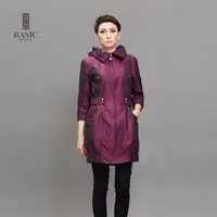 BASIC EDITIONS New Fashion Frühling Herbst Frauen Trenchcoat Long Outwear Blau Lila Reißverschluss Schlank Trenchcoat F0992