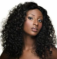 Wholesale Brazilian Vigin Hair - 180% Density Curly Lace Front Human Hair Wigs For Black Women Vigin Brazilian Remy Hair With Baby Hair Bleached Knots