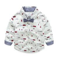 Wholesale Cool Cartoon Shirts - Boys clothing Kids clothes Boys bow shirt Long sleeve Cool Car print cartoon Gentle man T shirt Cotton Brand wholesale