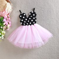 Wholesale Girls Sleeveless Harness Dress - Kids Summer Dress Princess Party Dot Dresses Children Baby Girls Cartoon Minnie Clothing Harness dress Kids Clothes 5pcs lot MSG047