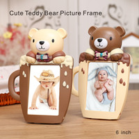 Wholesale Wholesale Teddy Bear Decorations - 6 Inch High Quality Cute Teddy Bear Picture Frame Cartoon Cup Shape Home Decorations Pvc Environmental Protection Material