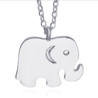 Wholesale Long Elephant Necklace - 2017 animal long chain clavicle necklace Smooth surface elephant silver plated Pendants Necklace statement Jewelry wholesale free shipping
