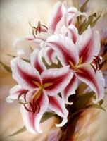 Wholesale Orchid Paintings Canvas - Diamond mosaic full round diamond embroidery needlework flower pink orchid diy diamond painting cross stitch kits Mosaic Home Decor yx0985
