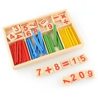 Wholesale Wooden Spindles - Wholesale- 1Set Colours Educational Toy Learning Math Toys Spindles Wooden Counting Game Mathematics Material Toy Hot Sale LA871517