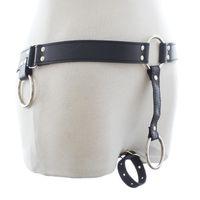 Wholesale sex toy underwear for men - Male Gay Leather Harness Pants,Exotic Underwear Restraints Bondage Chastity Belt Panties Sex Toys For Men