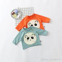 Wholesale Cartoon Bear Long Sleeved Shirt - ins Korean cute style baby girl boy cartoon cute bear print round collar long sleeve T-shirt 100% cotton kids autumn clothing 2 colors