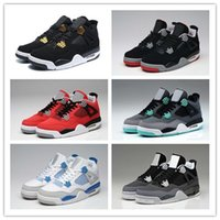 Wholesale Mid Top Shoes - 2017 Wholesale Retro (4)IV Basketball Shoes cement Bred Black Gold White ROYALTY Top quality Mens BRED 4s Sport Sneakers With Shoes Box
