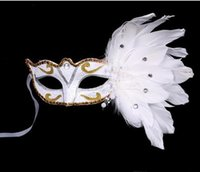 Wholesale Colored Face Masks - Masquerade Mask Christmas Colored Feather Mask Halloween Birthday Party Women's Fashion Mask Stage Performances Supplies 10pcs free shipping