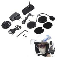 intercomunicador bluetooth v6 al por mayor-Más nueva versión V6 1200m casco de la motocicleta Bluetooth Intercom Auriculares Moto Intercomunicador 6 Riders BT Interphone enchufe de la UE