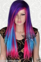 Wholesale Mixed Colour Straight Wig - ePacket free shipping>Fashion Long Straight Wig Multi Colour Cosplay Straight Women's Wig