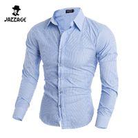 Wholesale Cheap Wholesale Mens Clothing - Wholesale- Men Shirt Long Sleeves 2016 Brand Shirts Men Casual Male Slim Fit Stripe Chemise Mens Camisas Dress Shirts Cheap Clothes XXL