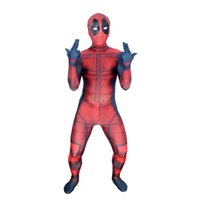 ingrosso deadpool costume-Kids 3D Deadpool 3D X-Men Deadpool Halloween Cosplay Supereroe Lycra Spandex Zentai Tute Deadpool Costume (Unisex)